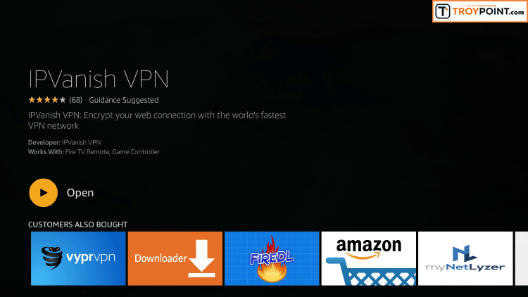 Step 5 - Click Open To Launch VPN Application On Firestick, Fire TV, or Fire TV Cube