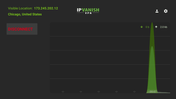 IPVanish VPN is now connected