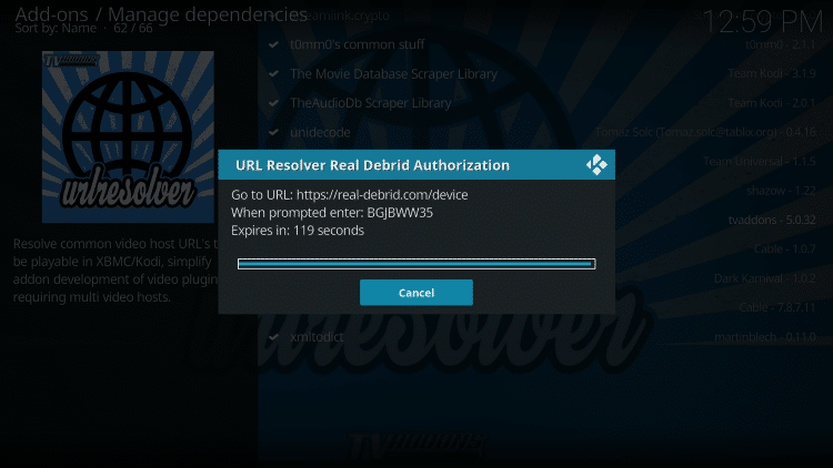 authorize real debrid in browser