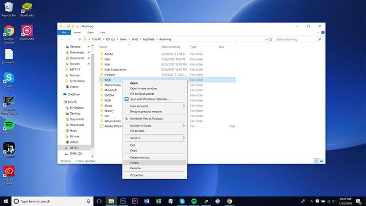delete kodi folder