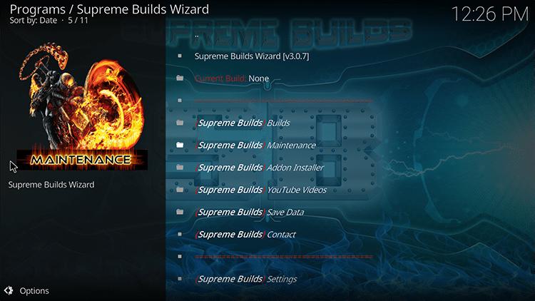 supreme builds maintenance