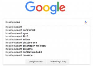 autocomplete install covenant on kodi