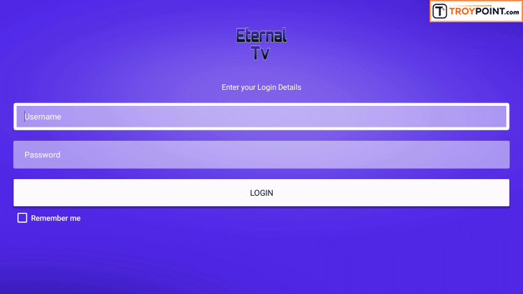 Login Eternal TV with Username & Password