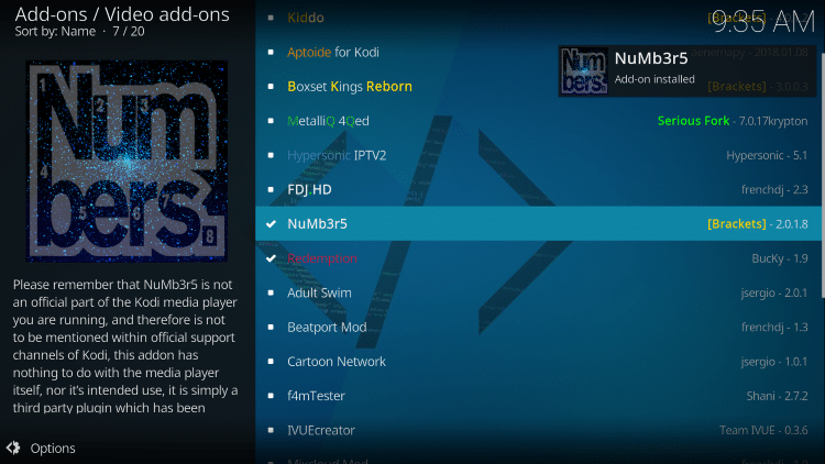 wait for numbers kodi addon installed message