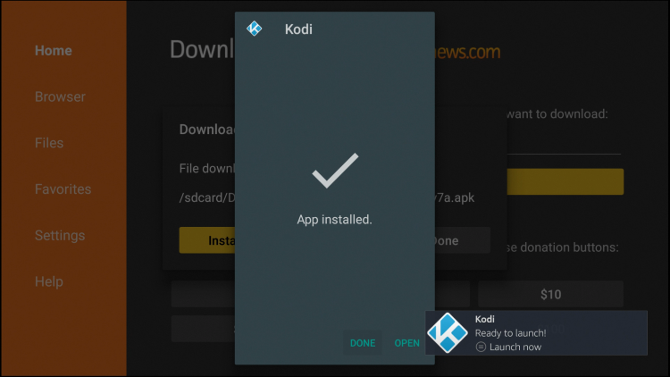 Click Done after Kodi has finished installing