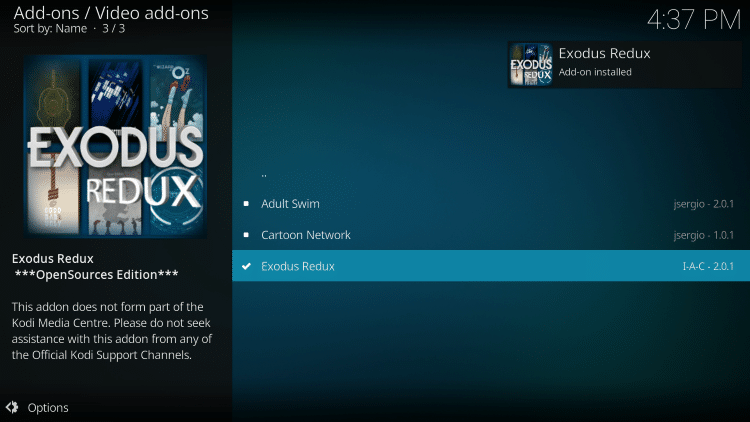 how to install kodi exodus redux