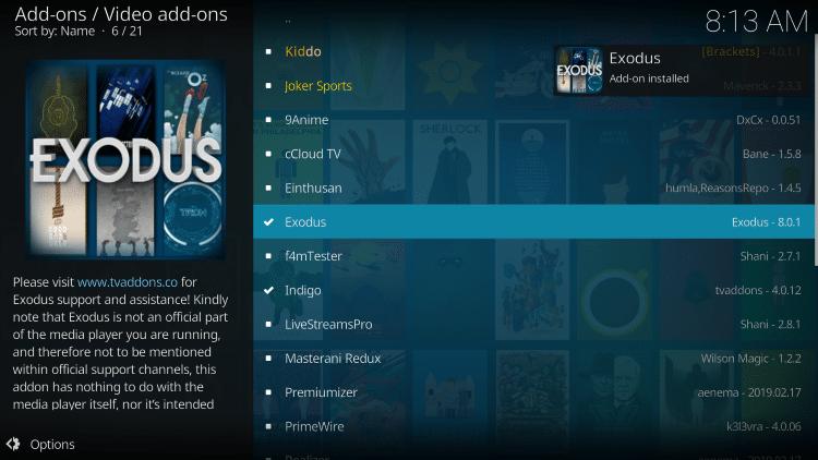 exodus add-on installed message