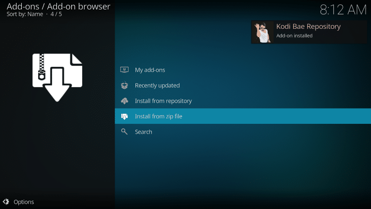 wait for kodi bae add-on installed message to appear