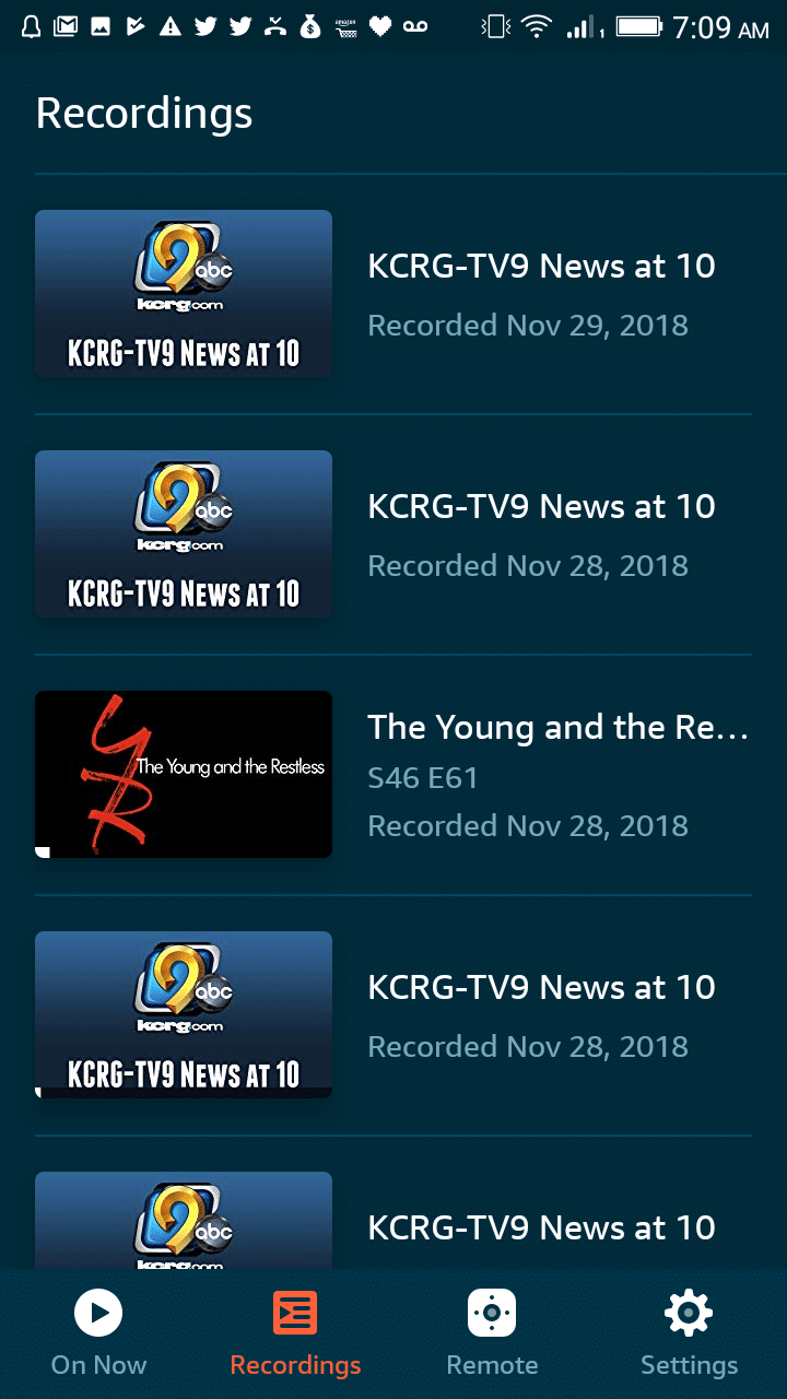 Fire TV Recast App Recordings