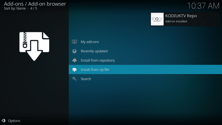 wait for kodiuktv add-on installed message