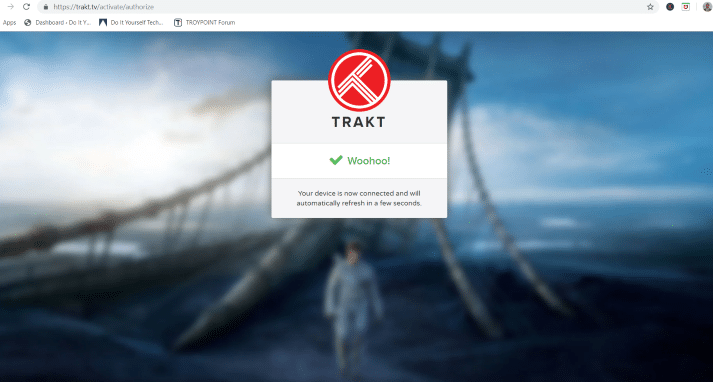 trakt authorization message