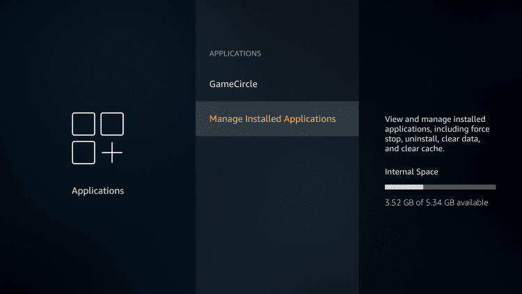 click manage installed applications