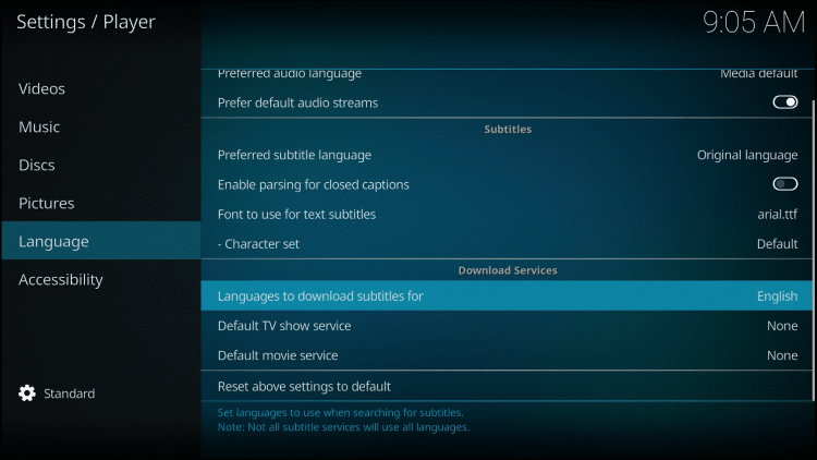 Hover over Language on left and then change your preferred subtitle language on right.