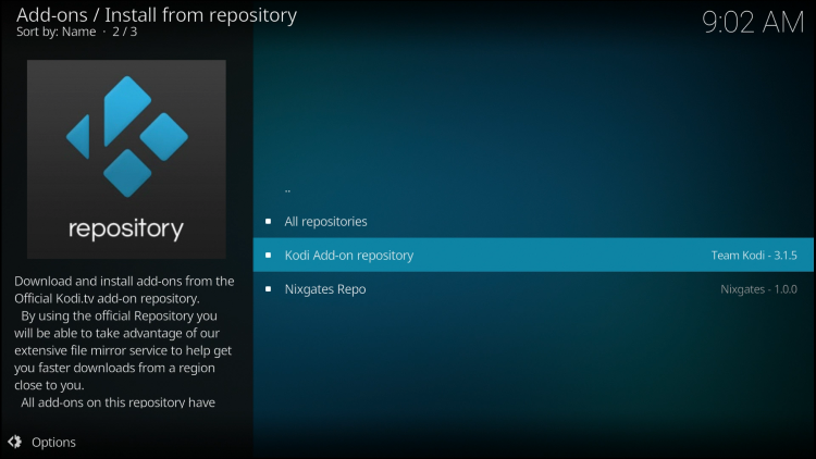 Click Kodi Add-on repository.