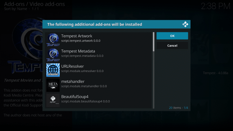 the following additional addons will be installed