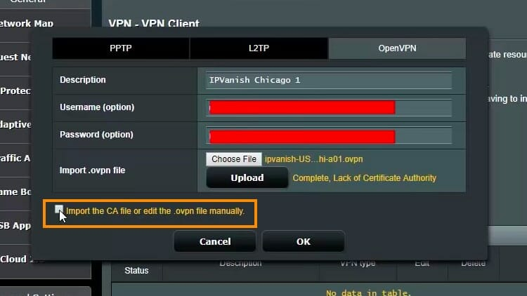 Tick the box beside Import the CA file or edit the .ovpn file manually.