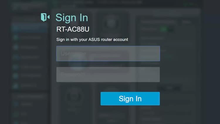 On the Sign In page, enter the username and password that you set up when you configured the router.