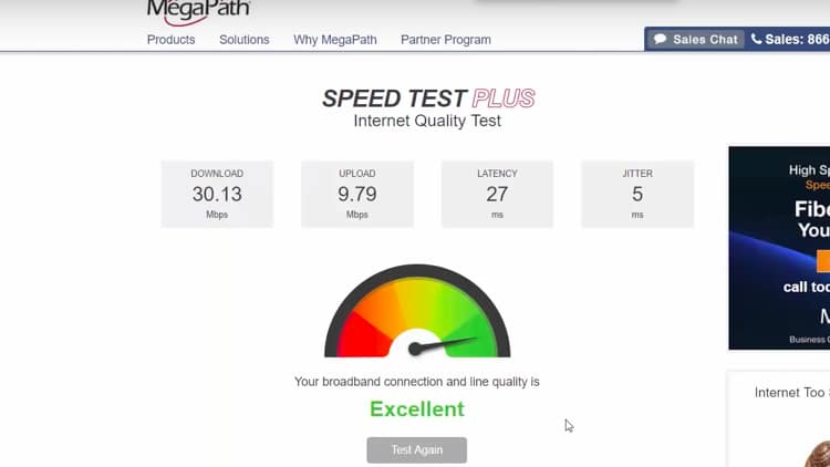 In this example, the download and upload speeds are indicated as 30.13 Mbps and 9.79 Mbps, respectively.