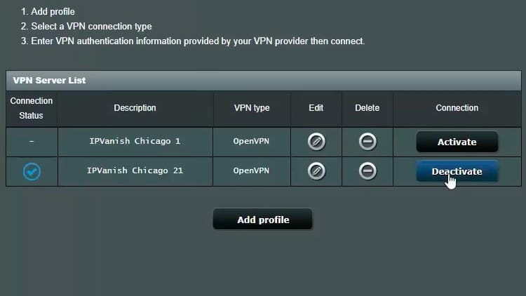 To test the second server, go back to the router administration page and click Deactivate on the first server row.
