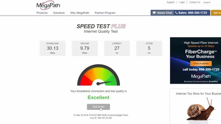 Go back to MegaPath Speed Test Plus page and click Test Again.
