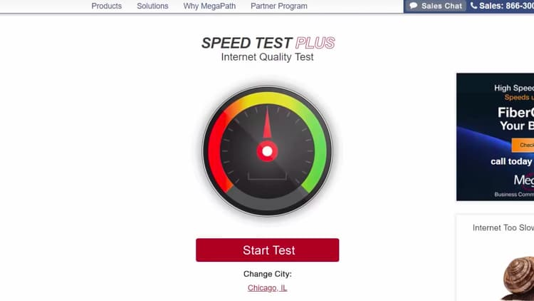 Click Start Test and wait for the speed test results to appear.
