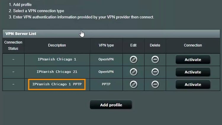 On the VPN Server List, activate the new server that you added.