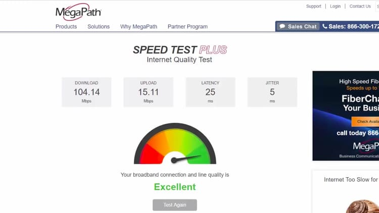 Once the blue check mark appears, go back to the MegaPath Speed Test Plus page and running a new test for the PPTP protocol.