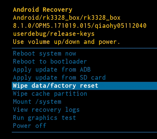 Écran Android Wipe Data