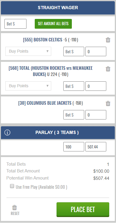 parlay without single bets