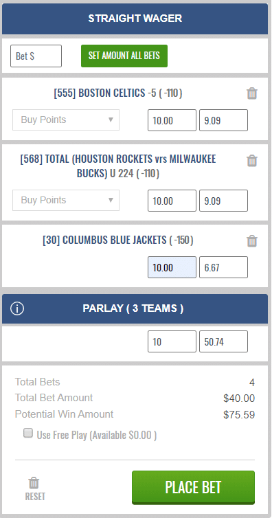 parlay with singles