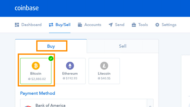 Step 2 - How to Buy Bitcoin on Coinbase (Desktop User)