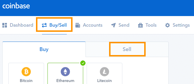 Step 2 - How to Sell Bitcoin on Coinbase (Desktop User)