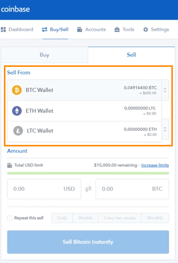 Step 3 - How to Sell Bitcoin on Coinbase (Desktop User)