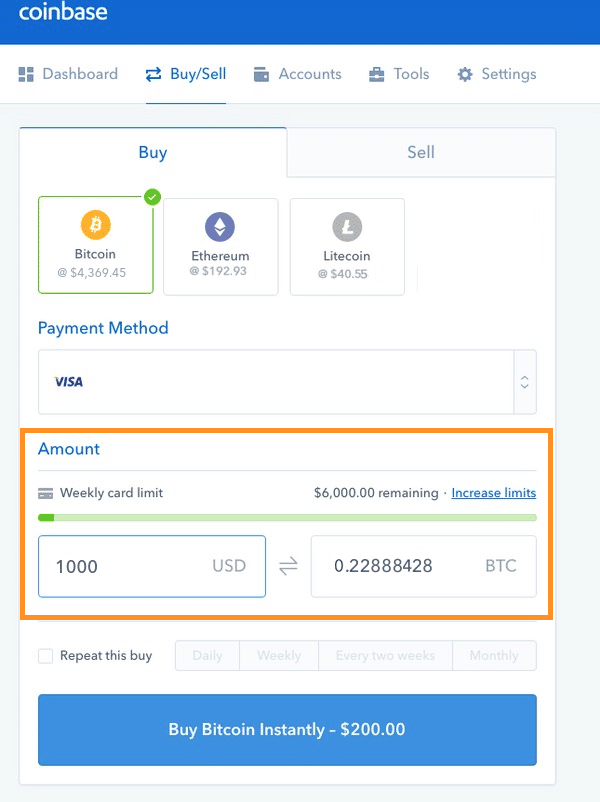Step 4 - How to Buy Bitcoin on Coinbase (Desktop User)