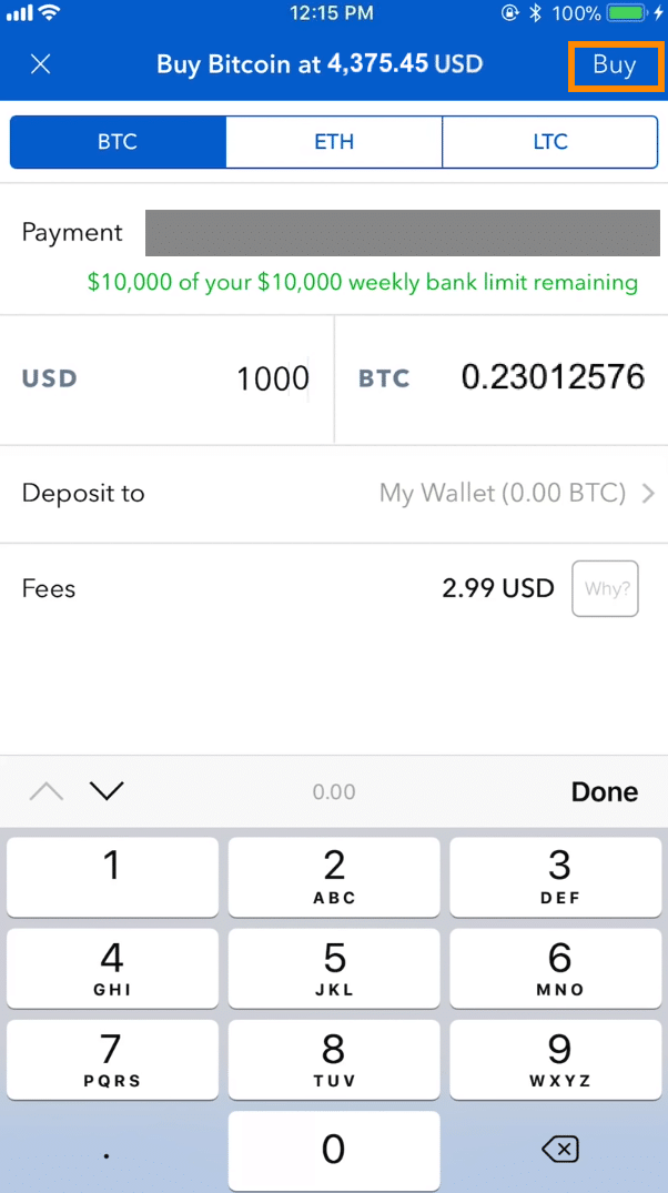 Step 4 - How to Buy Bitcoin on Coinbase Mobile User (iOS and Android))