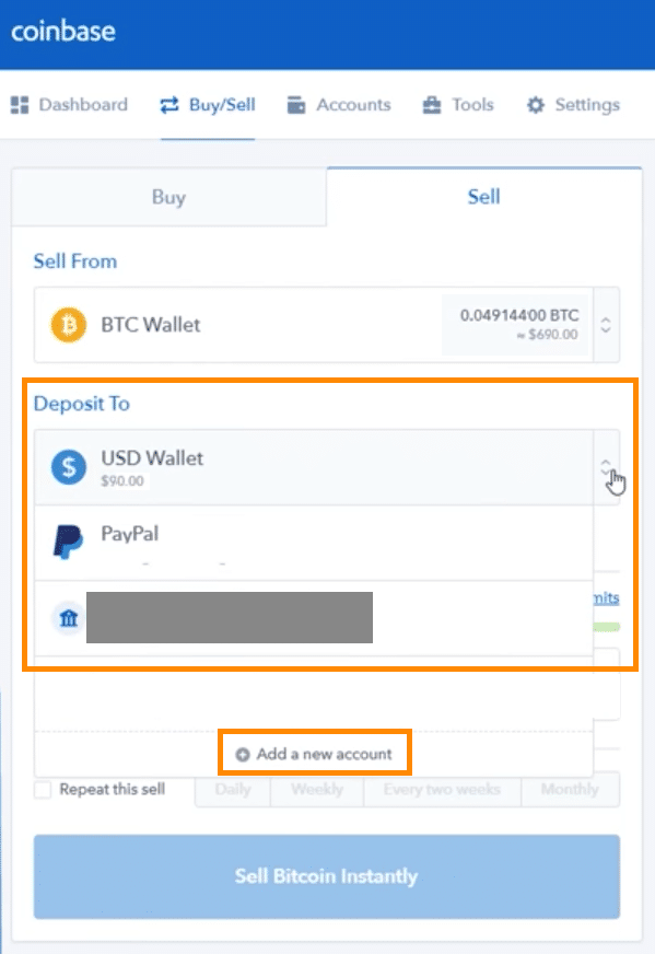 Step 4 - How to Sell Bitcoin on Coinbase (Desktop User)