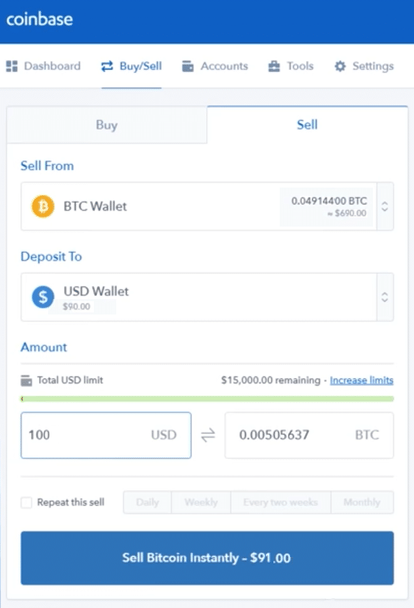 Step 5 - How to Sell Bitcoin on Coinbase (Desktop User)