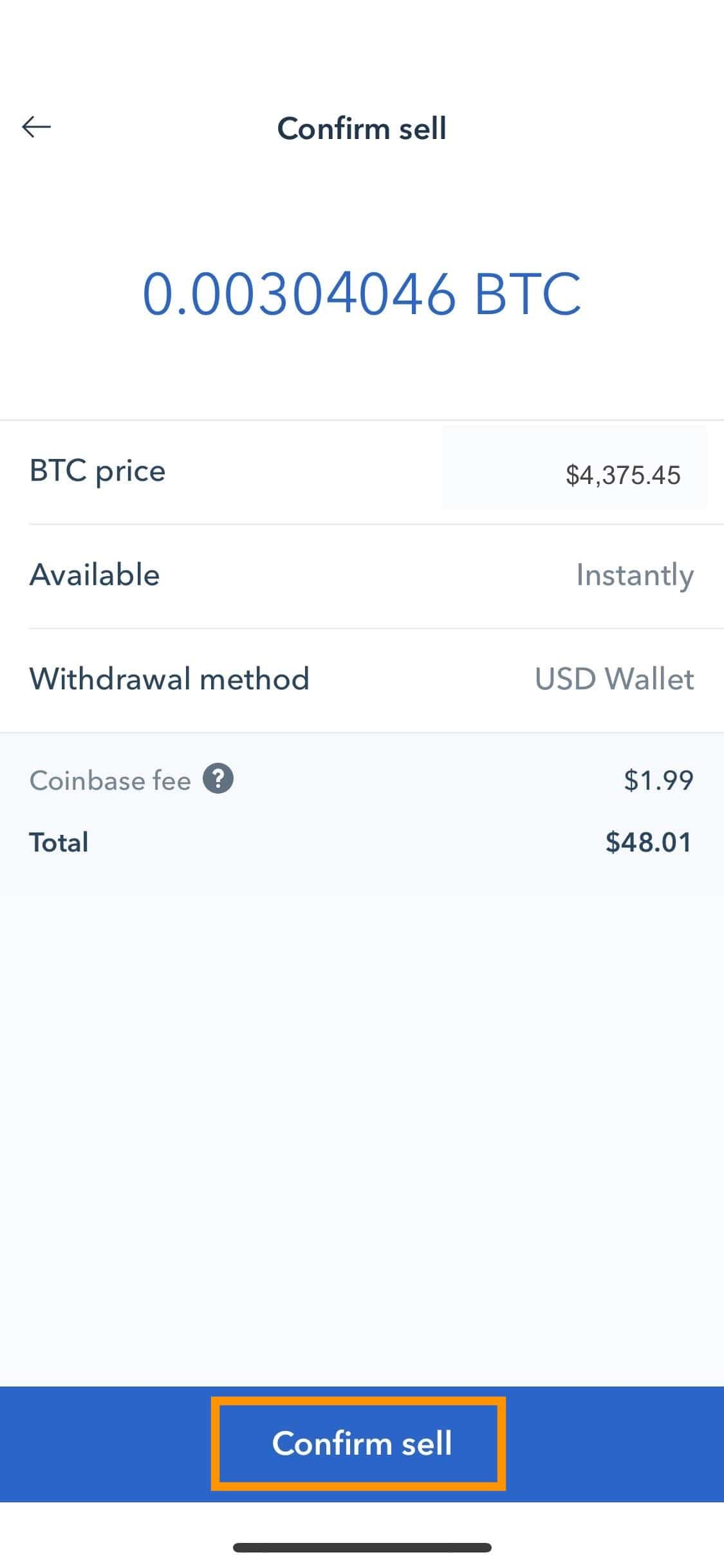 Step 7 - How to Sell Bitcoin on Coinbase (Mobile User (iOS and Android))