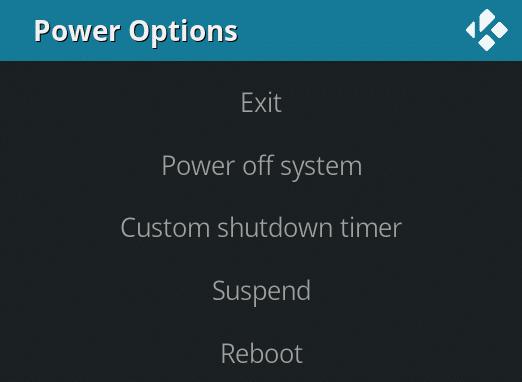 Kodi - Power Options