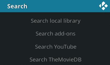 Kodi Search menu