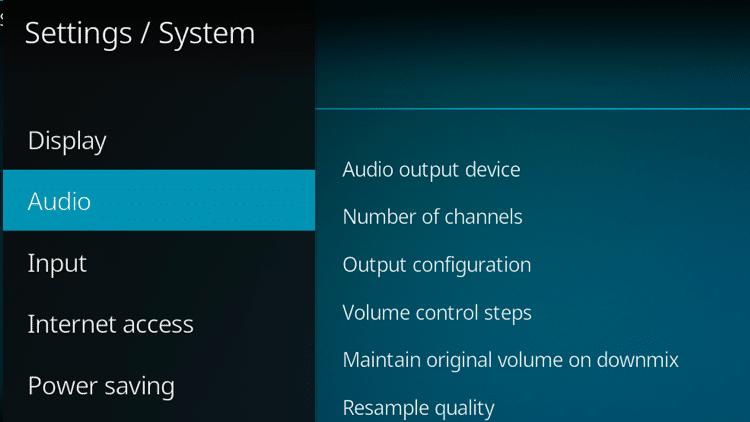 Step 3.1 - How To Fix Kodi No Sound Error - Configure Kodi audio settings
