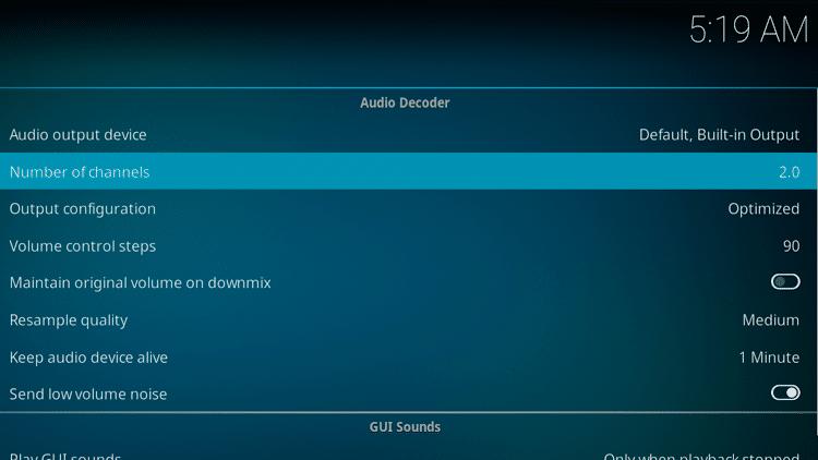 Step 4 - How To Fix Kodi No Sound Error - Switch audio channel