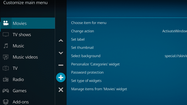 Step 4 - How to Create a Home Menu Item for Your Trakt Collection
