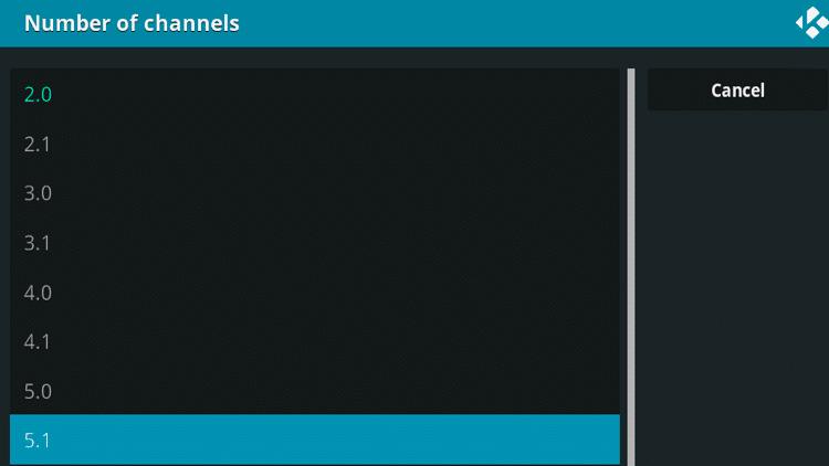 Step 5 - How To Fix Kodi No Sound Error - Switch audio channel