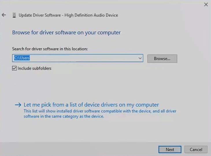 Step 7 - How To Fix Kodi No Sound Error - Update the audio driver for Windows