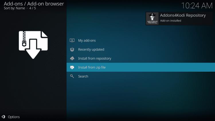 wait for addons4kodi add-on installed