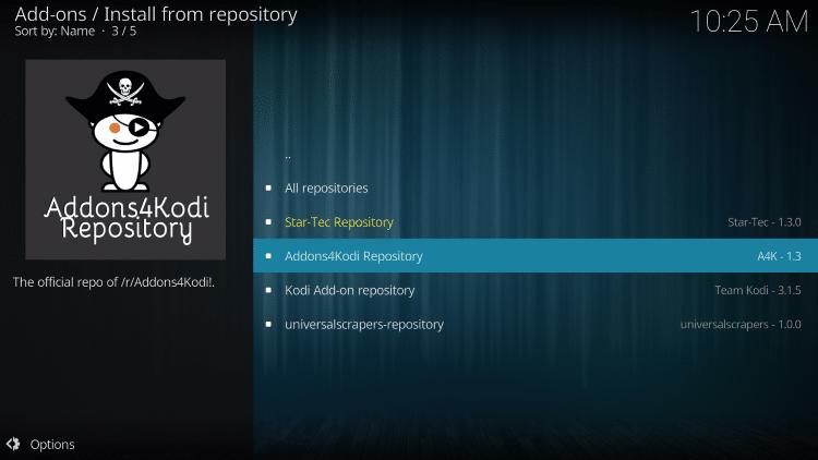 choose addons4kodi repository