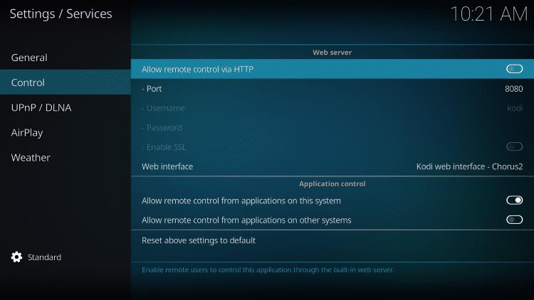 allow remote control via HTTP