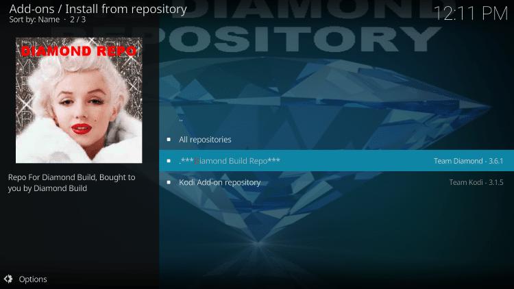 choose diamond build repo