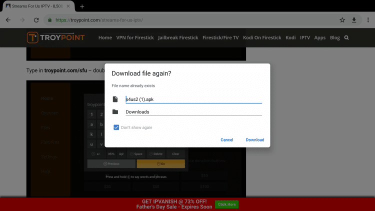 The file will download just like it did when clicking the download link.